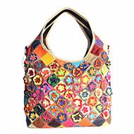 Women Bags All Seasons Cowhide Shoulder Bag Floral Flower Split Joint for Black Rainbow Black/White