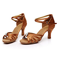 baratos Sapatilhas de Dança-Mulheres Sapatos de Dança Latina Seda Sandália Pedrarias Salto Personalizado Personalizável Sapatos de Dança Marron / Interior / Couro