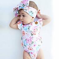Baby Pige Blomster Mode / Vintage Trykt mønster Uden ærmer Bomuld Bodysuit Hvid