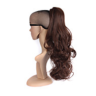 Mediumt Brown Long Wavy Ponytail Synthetic Women Claw on Ponytail Clip in Pony Tail Hair Extensions Straight Style Hairpiece