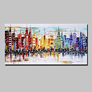 abordables Décoration Murale-mintura®, ville de couteau peinte à la main, peintures à l'huile sur toile, tableaux de peintures murales abstraites modernes pour la décoration intérieure, prêt à accrocher