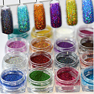 17bottles/set 0.2g/bottle Fashion Gorgeous Style Colorful Shining DIY Charm Pigment Decoration Nail Art Laser Glitter Holographic Fine Powder JX01-17