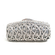 cheap Wedding Bags-Women's Bags PU Nylon Metal Evening Bag Crystal Detailing for Winter Gold Silver