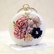 tanie Kopertówki i torebki wieczorowe-Damskie Torby PU Torba na ramię Kwiat Solidne kolory Biały / Blady róż