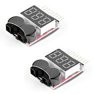 2 pakker rc lipo batteri monitor alarm tester kontroller lav spenning buzzer alarm med led indikator for 1-8s lipo liv limn li-ion batteri