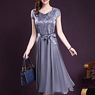 Žene Veći konfekcijski brojevi Izlasci Šifon Swing kroj Haljina - Mašna, Jednobojni V izrez Midi