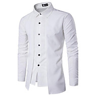cheap -Men's Chinoiserie Cotton Slim Shirt - Solid Colored Basic Spread Collar / Long Sleeve / Spring / Fall