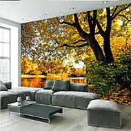 billige Tapet-Trær / Blader Art Deco 3D Print Hjem Dekor Moderne / Nutidig Tapetsering, Lerret Materiale selvklebende nødvendig Veggmaleri, Tapet