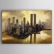 Handgeschilderde Abstracte landschappen Horizontaal,Abstract Eén paneel Canvas Hang-geschilderd olieverfschilderij For Huisdecoratie