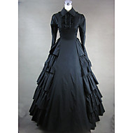 cheap -Rococo Victorian Costume Women's Dress Party Costume Masquerade Black Vintage Cosplay Cotton Party Prom Long Sleeve Cap Sleeve Floor Length Ball Gown