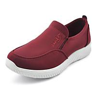 Dame 一脚蹬鞋、懒人鞋 Komfort Tekstil Vår Høst Avslappet Gange Komfort Flat hæl Svart Rød 2,5 - 4,5 cm