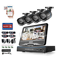 Sannce® 8ch 4pcs 720p lcd dvr weatherproof bewaking beveiligingssysteem ondersteund analoge ahd tvi ip camera