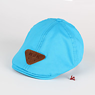 Boy's Beret Triangle Patch Solid Color Kids Hat