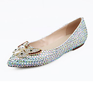 cheap High-end Wedding Shoes-Women's Shoes Leather Spring / Summer Comfort / Novelty Flats Walking Shoes Flat Heel Pointed Toe Crystal / Pearl White / Wedding