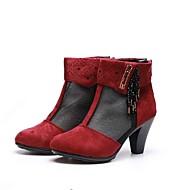 Для женщин Ботинки Босоножки Тюль Ткань Весна Лето Для праздника Босоножки Кристаллы Молнии На толстом каблуке Красный 4,5 - 7 см