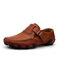 tanie Obuwie męskie-Męskie Komfortowe buty Skóra bydlęca Wiosna / Lato Mokasyny i buty wsuwane Spacery Czarny / Jasnobrązowy
