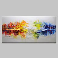 baratos -Pintados à mão Abstrato Horizontal,Estilo Europeu Moderno 1 Painel Tela Pintura a Óleo For Decoração para casa