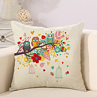 1 Pcs Classic Colorful Owl And Flowers Pillow Cover Square Pillow Case Personality Sofa Cushion Cover