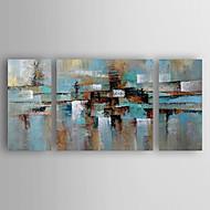 Pictat manual Abstract Orizontal,Abstract Modern/Contemporan O noua sosire Trei Panouri Canava Hang-pictate pictură în ulei For Pagina de