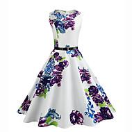 Dame Vintage Gade A-linje Swing Kjole - Blomstret, Vintage Stil Blomster Knælang