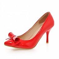 baratos Sapatos Femininos-Mulheres Sapatos Courino / Couro Ecológico Verão / Outono Saltos Caminhada Salto Agulha Dedo Apontado Laço Cinzento / Vermelho / Rosa