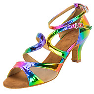 baratos Sapatilhas de Dança-Mulheres Sapatos de Dança Latina Courino Sandália / Salto Presilha Salto Personalizado Personalizável Sapatos de Dança Arco-íris