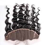 自然な色の緩やかな波ブラジルの処女髪のレースの正面の閉鎖13x4インチ