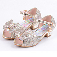 cheap Girls' Shoes-Girls' Shoes Leatherette Summer Fall Flower Girl Shoes Comfort Flats Sequin for Casual Dress Gold Silver Blue Pink