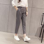 Dámské Jednoduchý Mikro elastické Upnuté Provozovna Kalhoty Štíhlý Prodloužené High Rise Mašle Jednobarevné