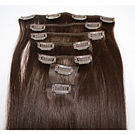 Brazilian Hair Clip In Human Hair Extensions 7 Pieces  100g/Pack 12-24inches 2#