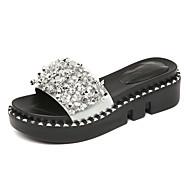 cheap Women's Slippers & Flip-Flops-Women's Shoes Patent Leather Summer Moccasin Slippers & Flip-Flops Wedge Heel Peep Toe Rhinestone for Casual Black Silver