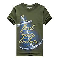 Masculino Camiseta Casual Tamanhos Grandes Simples Verão,Sólido Estampado Algodão Decote Redondo Manga Curta Média