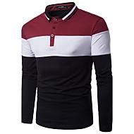 זול -קולור בלוק צווארון חולצה רזה פעיל / סגנון רחוב Polo - בגדי ריקוד גברים שחור ולבן אודם / שרוול ארוך