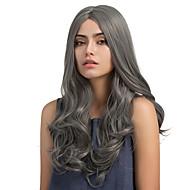 Sintetičke perike Wavy Gustoća Capless Žene Siva Prirodna perika Dug Sintentička kosa