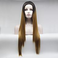 Kvinder Syntetiske parykker Blonde Front Medium Lang Glat Sort / Jordbær Blond Naturlig paryk kostume Parykker