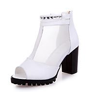 baratos -Feminino Sandálias Conforto Couro Ecológico Verão Caminhada Conforto Presilha Salto Grosso Branco Preto 2,5 a 4,5 cm