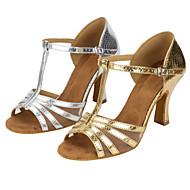 baratos Sapatilhas de Dança-Mulheres Sapatos de Dança Latina Couro Sintético Sandália Cruzado Salto Cubano Personalizável Sapatos de Dança Dourado / Prata