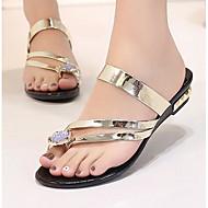 hesapli -Kadın Ayakkabı PU Yaz Rahat Düz Ayakkabılar Uyumluluk Günlük Altın Siyah Gümüş