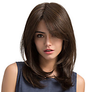 MAYSU Women Synthetic Wig Long Straight Chestnut Brown Side Part With Bangs Natural Wigs Halloween Wig Carnival Wig Costume Wig