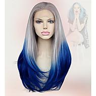 Vrouw Pruik Lace Front Synthetisch Haar Middel Recht  Grijs Cosplaypruik Kostuumpruik