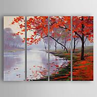billiga Människomålningar-Hang målad oljemålning HANDMÅLAD - Människor Abstrakt Inkludera innerram / Fyra paneler