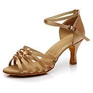 baratos Sapatilhas de Dança-Mulheres Sapatos de Dança Latina Seda Salto / Têni Salto Personalizado Personalizável Sapatos de Dança Castanho Escuro / Nú / Espetáculo