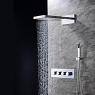 Contemporary Wall Mounted Waterfall Rain Shower Handshower Included Ceramic Valve Three Holes Four Handles Three Holes Chrome , Shower