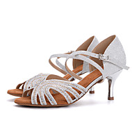 baratos Sapatilhas de Dança-Mulheres Sapatos de Dança Latina Gliter Sandália / Salto Pedrarias / Presilha Salto Agulha Sapatos de Dança Preto-branco / Rosa claro /