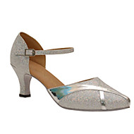 billige Moderne sko-Dame Moderne Glitter Sandaler Opptreden Strå Kubansk hæl Lilla Sølv 6 cm Kan spesialtilpasses