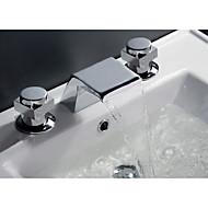 お買い得  浴槽用蛇口-組み合わせ式 滝状吐水タイプ セラミックバルブ 二つのハンドルつの穴 クロム, 浴槽用水栓