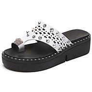 cheap Women's Sandals-Women's Sandals Comfort Summer Rubber Walking Shoes Outdoor Flat Heel White Black Under 1in
