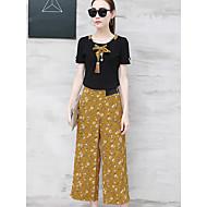 Dámské Proužky Květinový Denní Ležérní Moderní Trička Kalhoty Obleky-Léto Kulatý Krátký rukáv