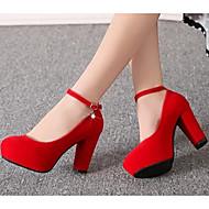 Feminino Sapatos Couro Ecológico Primavera Conforto Saltos Para Casual Preto Vermelho