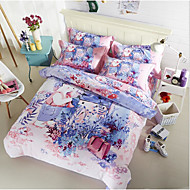 Painting 4 Piece Cotton Machine Made Cotton 1pc Duvet Cover 2pcs Shams 1pc Flat Sheet